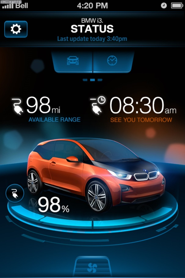 Example of BMW App, which you can download to your phone to check on the charge status of your BMW.